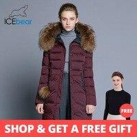 43409c4f1a5 ICEbear 2018 Новинка женское пальто облегающая женская куртка меховой  воротник из енота бренд одежды толстая теплая