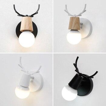 Nordic Gewei Houten Wandlamp E27 Lamp Muur Gemonteerde Verlichting Armatuur Slaapkamer Bed Achtergrond Gangpad Corridor Hotel Moderne Lamp