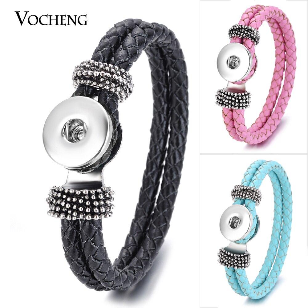 Prix pour 10 PCS/Lot En Gros Vocheng Gingembre Snap Bouton Bracelet 18mm 14 Couleurs Double Tressé En Cuir Bijoux Vb-013 * 10 Livraison gratuite