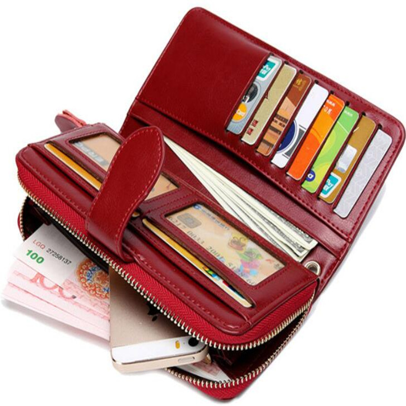 Купить с кэшбэком Hot Sale Wallet Brand Coin Purse oil wax Leather Women Wallet Purse Wallet Female Card Holder Long Lady Clutch Carteira Feminina