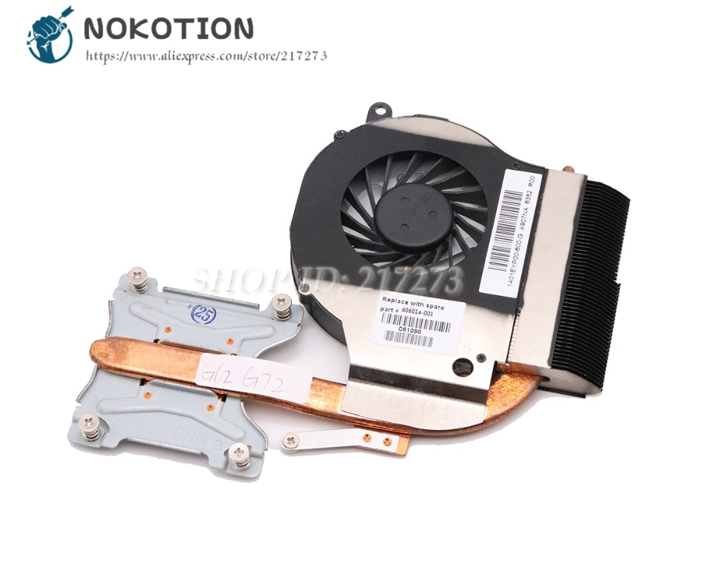 NOKOTION 606014-001 Radiator For HP Pavilion G62 G72 Laptop Cooling Fan Heatsink