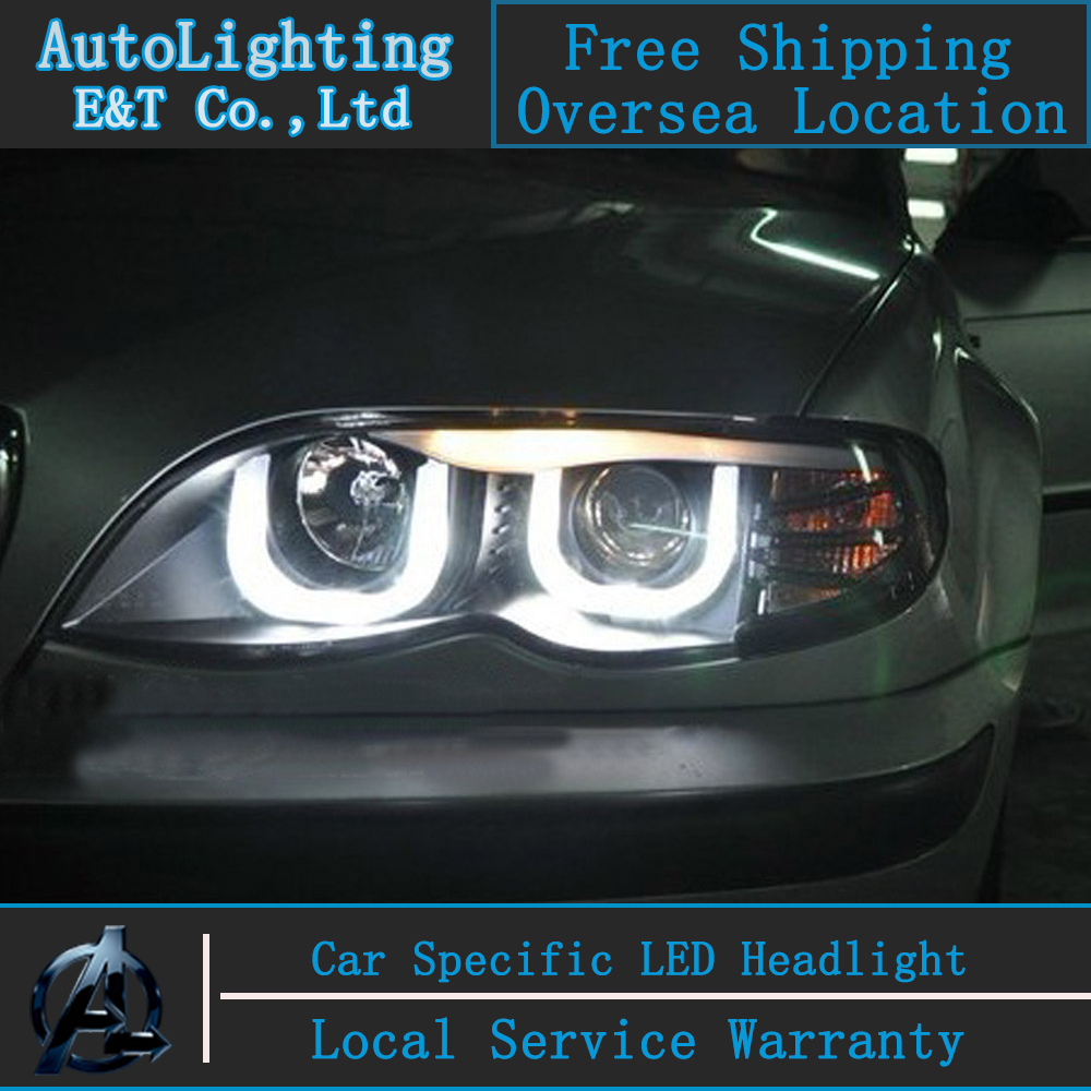 Car Styling LED Head Lamp for BMW E46 Headlight assembly 318 320 325 LED Headlight angel eye headlight H7  with hid kit 2 pcs. car styling head lamp for bmw e84 x1 led headlight assembly 2009 2014 e84 led drl h7 with hid kit 2 pcs