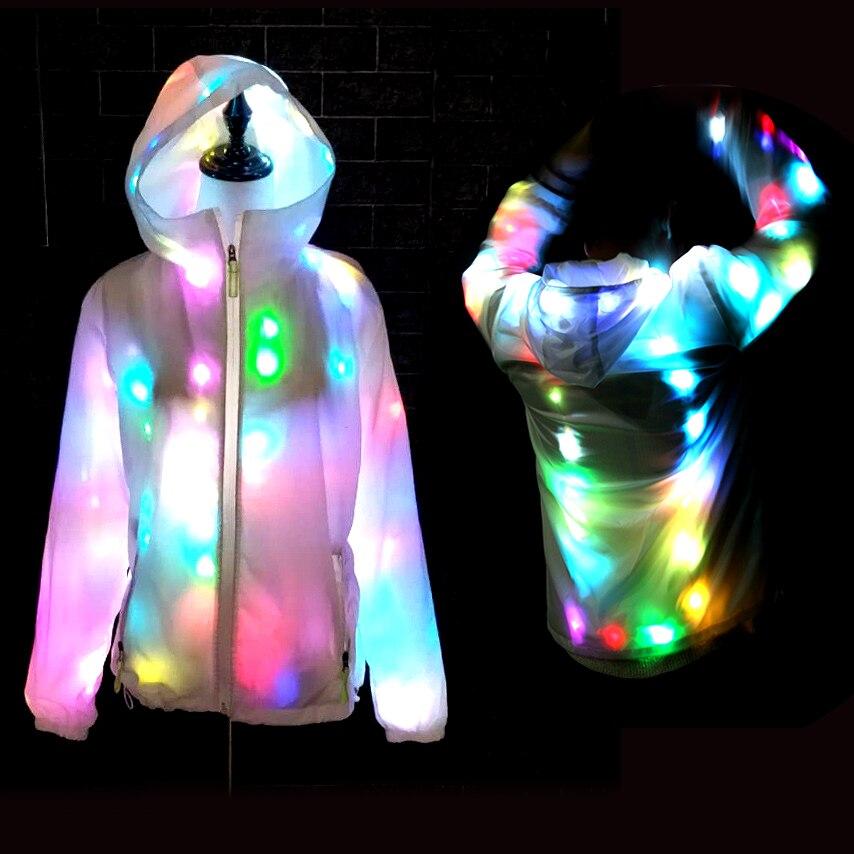 Coloré LED lumineux Costume vêtements danse LED croissant éclairage Robot costumes vêtements hommes Club fête fournitures scène accessoires