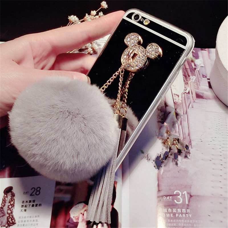Case For Samsung J3 J4 J5 J6 J7 Prime 2018 Pro Rhinestone Mouse Ears Fur Ball Tassels Soft Mirror Phone Case Pompom Capa Coque Cellphones & Telecommunications