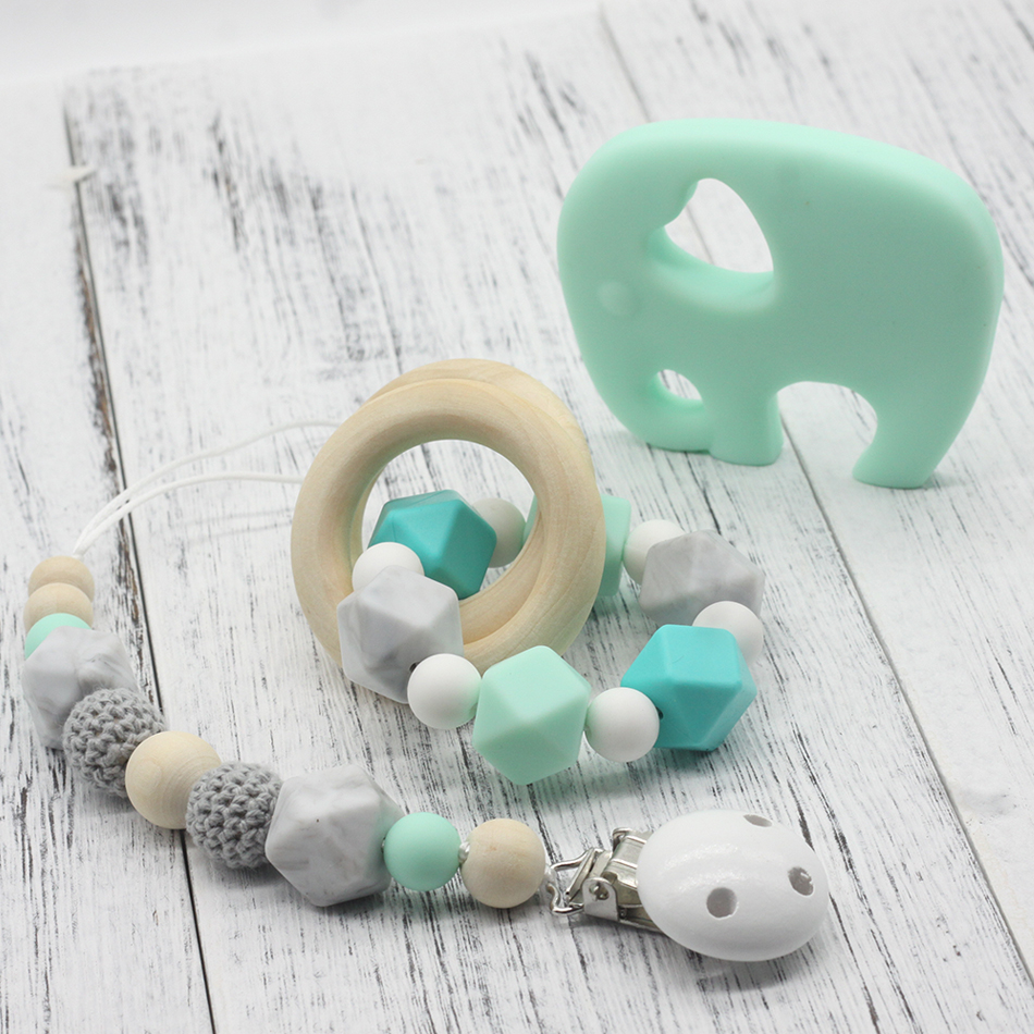 GLJ.CY Free shipping Pacifier Clip Wooden Organic and Silicone Beads Rattle Holder Chewable Baby Accessories pendant
