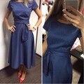 2017 Горячей Продажи Случайные Линии Dot Женщины Популярные Dress Коротким Рукавом O-образным Вырезом До Колен Dress Летом Стиль Пояса Одежды плюс размер