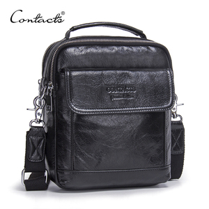 Image 1 - CONTACTS Genuine Cow Leather Messenger Bags Flap Casual Men Solid Handbags Famous Brand Small Male Shoulder Crossbody Bags