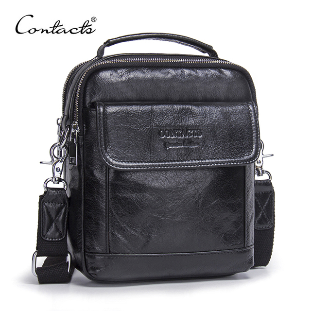 CONTACTS Genuine Cow Leather Messenger Bags Flap Casual Men Solid Handbags Famous Brand Small Male Shoulder Crossbody Bags