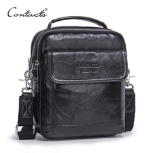CONTACT'S Genuine Cow Leather Messenger Bags Flap Casual Men Solid Handbags Famo