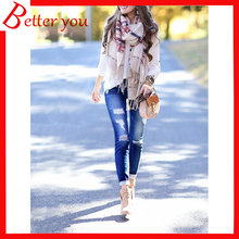 Popular Spring summer stretch ripped casual skinny pencil pants trousers denim high waist jeans