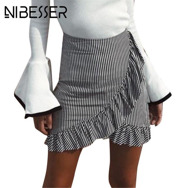 d5e72b155b3 NIBESSER Women s Lady Vintage Stretch Plain High Waist Skater Flared Ruffle  Striped Pleated Skirt 2018 A Line Short Mini Skirts