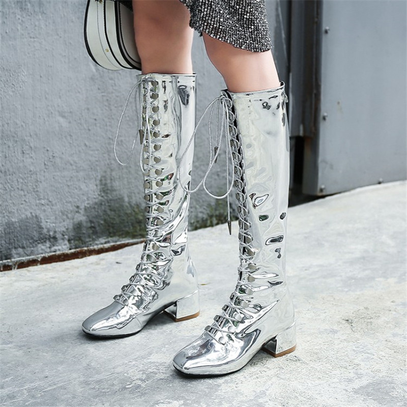 EMMA KING Patent Leather Mirror Knee-High Boots Women Cross-tied Low Thick Heel Square Toe Long Boots Lace Up Stage Martin BootsEMMA KING Patent Leather Mirror Knee-High Boots Women Cross-tied Low Thick Heel Square Toe Long Boots Lace Up Stage Martin Boots