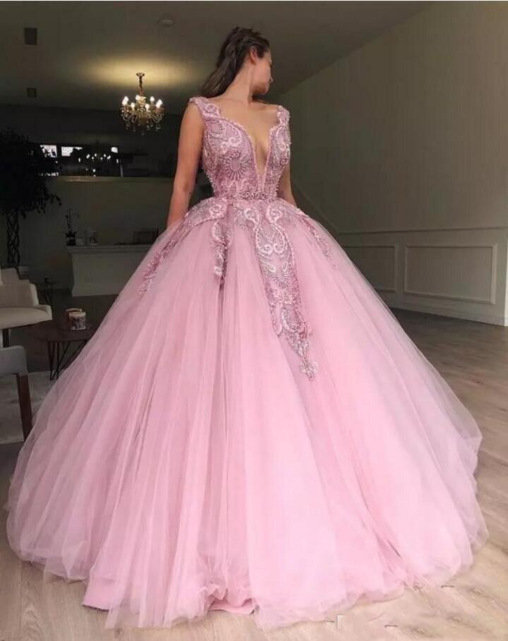 2019 Sexy robe de bal Quinceanera robes col transparent dentelle Appliques perlée Tulle Illusion gonflé doux 16 partie grande taille