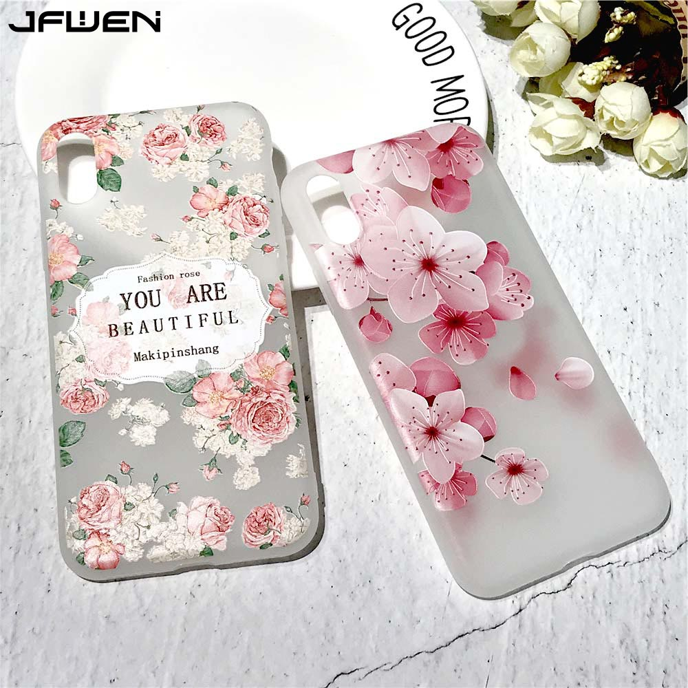 JFWEN For iphone X Case Ultra Thin Back For iphone X 6 6S 7 8 Plus 10 Case Cover Silicone Luxury 3D Relief Flowers Phone Cases