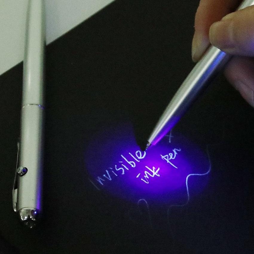 Bolígrafo de tinta Invisible con Material de plástico de 1 pieza, bolígrafos novedosos, nuevo Material escolar de oficina con luz Uv, pelota mágica y secreta