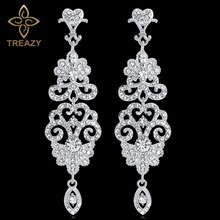 TREAZY Luxury Chandelier Earrings for Women Silver Color Cry