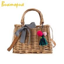 CHARAS brand women's Hand-woven handbag Bamboo vine+PU Shoulder Bags Messenger travel Storage storage box
