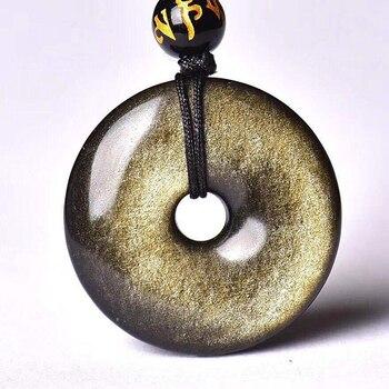 Natural Gold Black Obsidian Safe Buckle  Stone Pendant