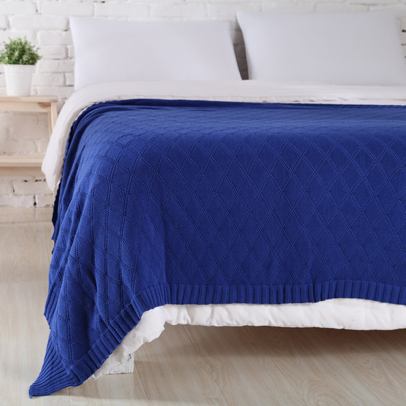 Hot sale high quality 100% cotton knit blanket for Summer/Autumn on Sofa/Bed Weave pattern 120*190CM on sale 100