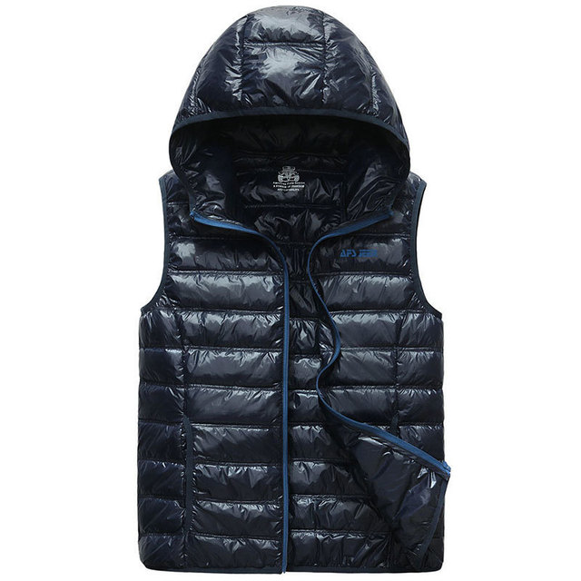 2018 New Sleeveless 90% White Duck Down Jackets Vest Slim Waistcoats Warm Hooded Collar Casual Cargo Military Tanks Business