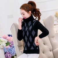 Womwen Knitting Sweater Winter 2017 Fashion Sweet Argyle Turtleneck Thicken Warm Pullovers Elastic Slim Knitted Tops