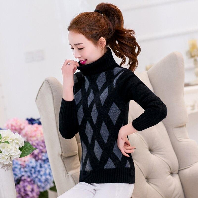 Womwen Knitting Sweater Winter 2018 Fashion Sweet Argyle Turtleneck Thicken Warm Pullovers Elastic Slim Knitted Tops