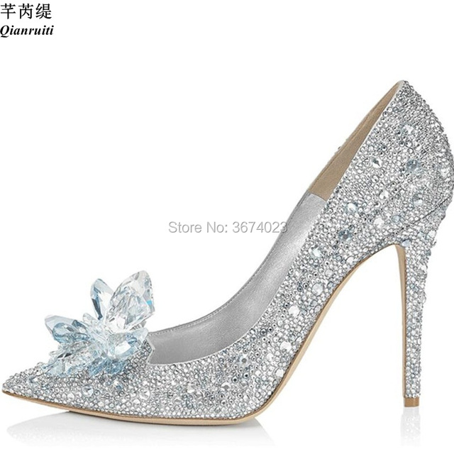 Qianruiti Wedding Shoes Women Cinderella Crystal Pumps Slip On Diamonds  Pointed Toe Stilettos Bridal Bling Shoes 11 cm 9 cm 7 cm 85a01c186bab