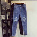 The New Fashion European and American Style Ms. Jeans Ms. Trousers Holes Wear White Modification Size:S-XL Free Shipping