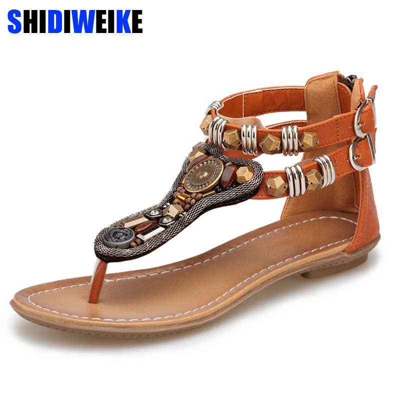 ac08f0adc82 Summer Shoes Woman Fashion Tassel Straps Flat Sandals For Women Flip-flops  Women Summer Beach