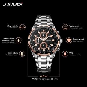 Image 5 - Sinobi Mannen Business Gouden Chronograaf Horloge Waterdicht Top Band Quartz Horloges Sport Horloges Relogio Masculino 2020