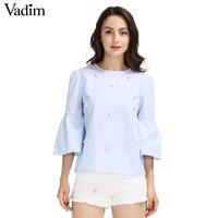 נשים חולצה שרוול התלקחות פנינים ואגלי אלגנטי O צוואר חולצה שלוש רבעון שרוול קיץ מותג blusas צמרות מזדמנים LT1799