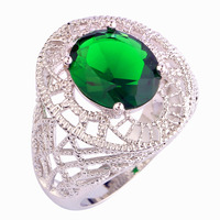lingmei New Fashion Unsiex Jewelry Oval Cut Emerald Quartz 925 Silver Ring For Women Party Size 7 8 9 10 Free Shipping Wholesale