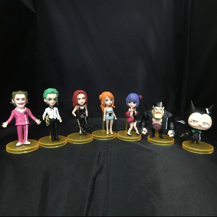 Set of 7 Anime One Piece Film Gold Vol.2 Nami ZORO Tanaka Baccarat Action Figure WCF world collectable figure Model Kids Toy