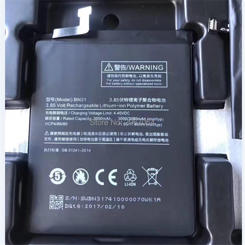 For xiaomi BN31 battery <font><b>3000mAh</b></font> Mobile <font><b>phone</b></font> battery Long standby time Test normal use before shipment High capacit