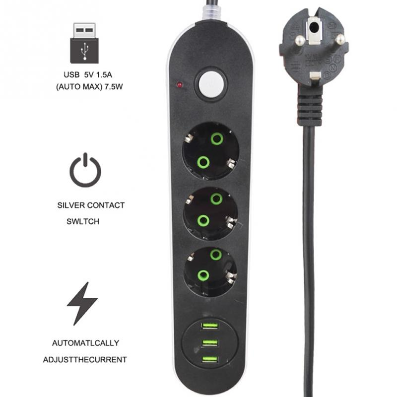 Smart USB Power Strip Socket EU Plug Overload Switch Surge Protector with 3/4 Outlet 3/4 Port USB Charger vina ups 004 safety smart 5a high speed 4 port usb fast charger w power adapter black eu plug