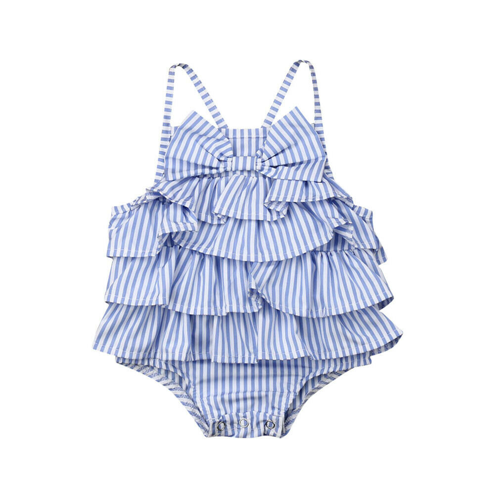 0-18 M Nette Neugeborene Baby Mädchen Ärmellose Strap Bowknot Layered Baby Body Overall Einem Stück Overall Outfits Sommer Kleidung Reines Und Mildes Aroma