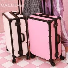 CALUDAN винтажная алюминиевая рама+ сумка для чемодана из ПК, высококачественный багаж на колесах, новая Универсальная походная коробка на колесах, Ретро Чехол на колесиках