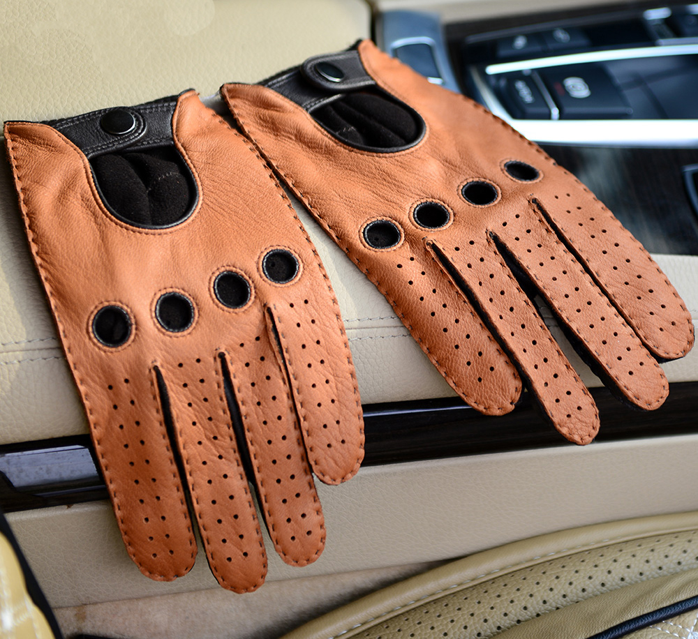 High end leather driving gloves - Male Genuine Leather Glove Deer Skin Leather Driver Glove Motorcycle Leather Glove Deerskin Men Leather Driving