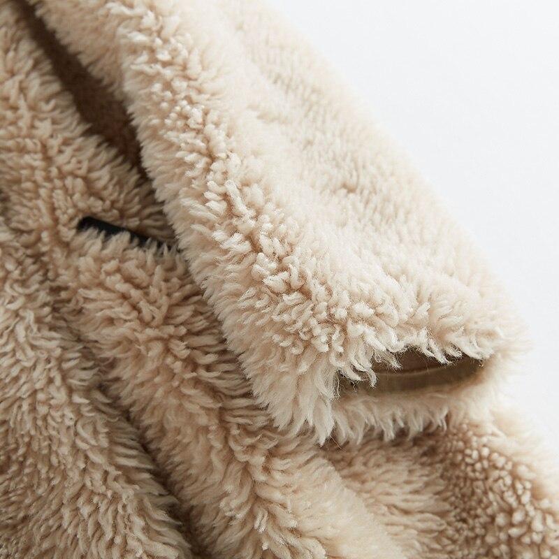 Casaco Peau Veste Manteau Élégant Coréenne Vêtements Feminino Fourrure Femmes Beige Pu 2018 En De Doublure Mouton Laine Réel Zt807 Hiver Moutons TOxCnOSq