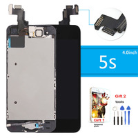 For IPhone 5s LCD Display Touch Screen Digitizer Repair Assembly Home Button Front Camera Speaker Tempered