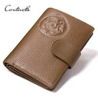 With Passcard Pocket Wallet CONTACT S Fashion Genuine Leather Women Men Short Hasp Design Clutch Wallets