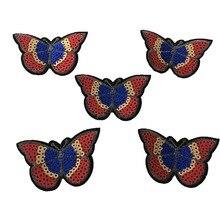 Paillettes Farfalle Patch per IKids Vestiti in ferro su paillettes Patch 10pcs / lot Accessori per decorazioni fai da te Appliques ricamati