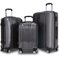 3 Piece Set 100% ABS Suitcase Carry on Spinner Wheels Travel Luggage lock 20 24 28 inch for Women Men Business Travel Bag
