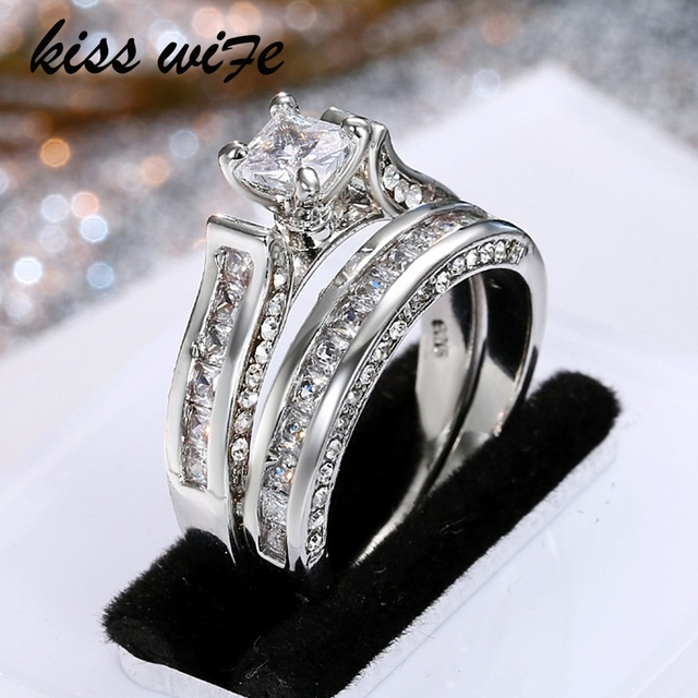 KISSWIFE Women Wedding Ring Set Sparkling Perfect Round Cut Zircon Stone Rings F