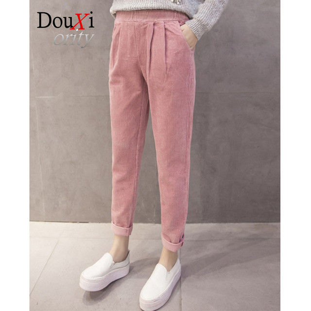 Calças harém pantalones mujer 2017 Nova alta cintura elástica calças calças pés femininos calças de veludo elástico calça ps casuala