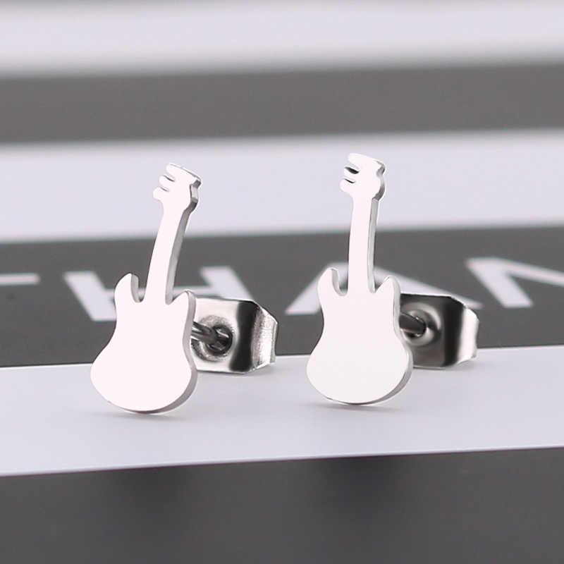 Re mini guitarra violino forma brincos de aço inoxidável instrumentos musicais design brincos melhor presente para o amante da música a1830