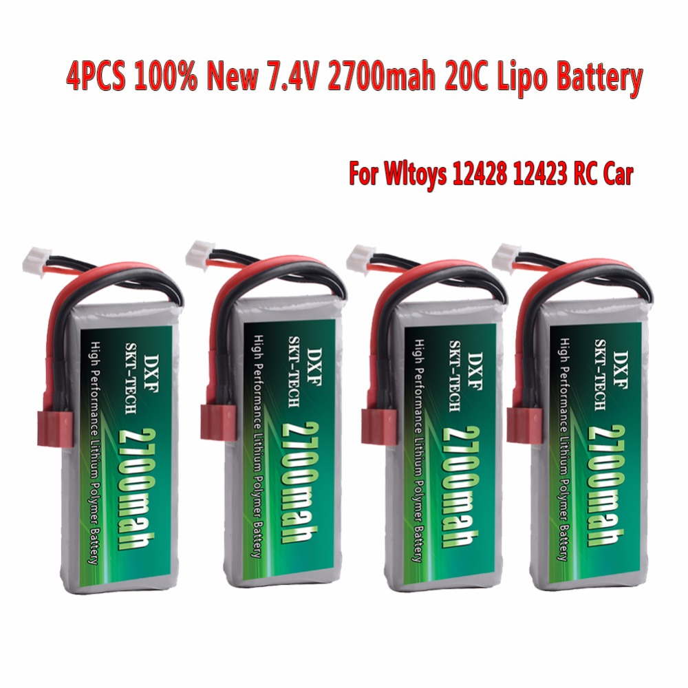 DXF 4PCS Rc Lipo Battery 2S 7.4V 2700mah 20C Max 30C for Wltoys 12428 12423 1:12 RC Car Spare parts