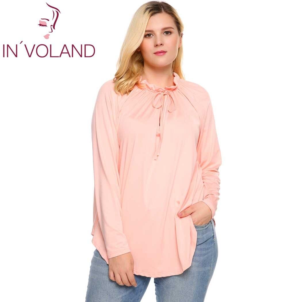 IN'VOLAND Femmes T-Shirt Grande Taille Casual O-cou Dentelle-up À Manches Longues Irrégulière Plissée Solide Marque Feminino T-Shirt Tops Oversize