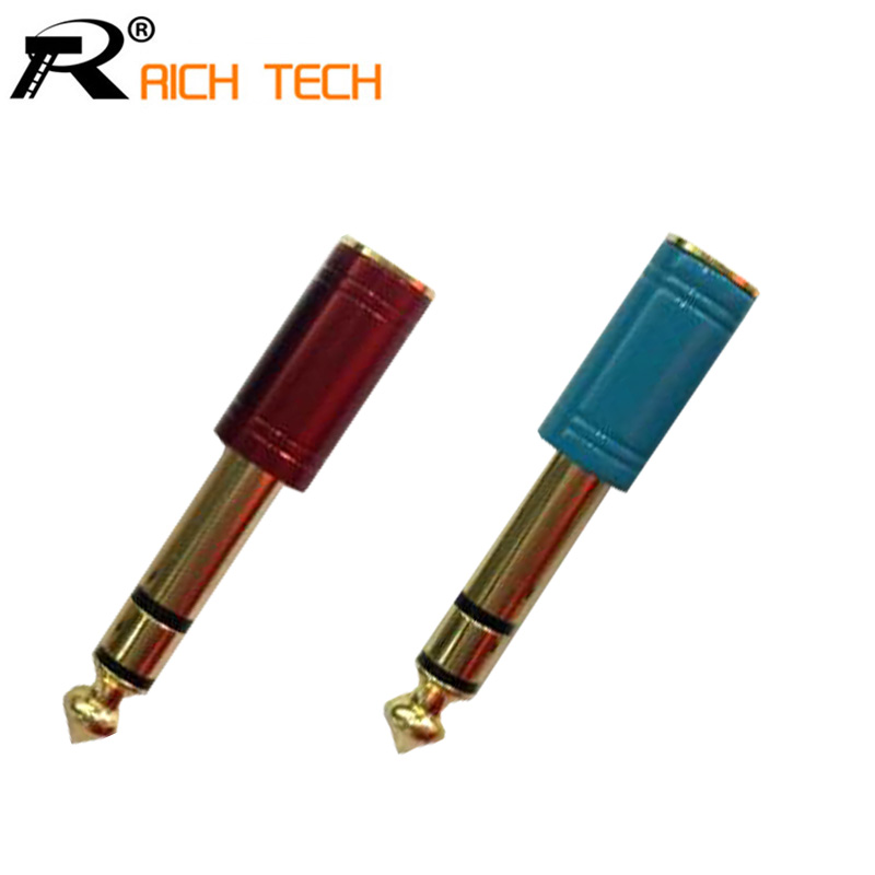 Audio Connector Adapter 6.35mm Stereo Male Plug to 3.5mm Stereo Female Jack Gold Plated  ...