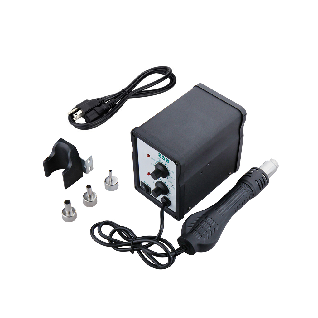 EU/US Plug Adjustable Hot Air Desoldering Soldering Station H858 700W Desoldering Station with 3 Air nozzles DIY Solder Tool yihua 898d led digital 700w lead free smd desoldering soldering station hot air soldering station